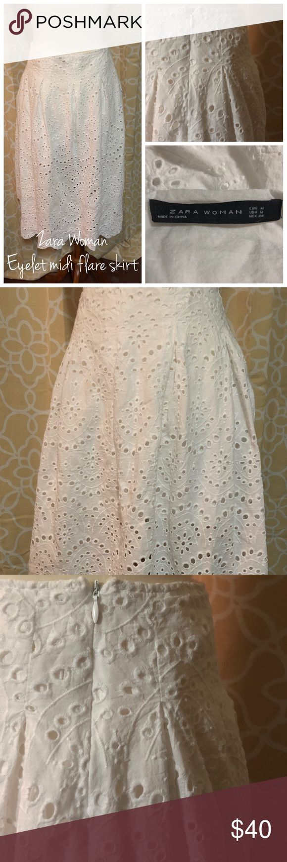 Zara Woman Eyelet Midi Flare Skirt Pretty prairie eyelet midi shirt from Zara would style well with a denim jacket and tank in a pop of colour. Add a market bag, sunnies & sandals and you are set for a fun Saturday afternoon. EUC. Size M. Zara Skirts Midi
