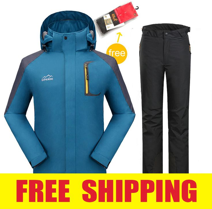 Зимняя куртка пальто брюки водонепроницаемый windprpoof открытый отдых сноуборд лыжный костюм одежда верхняя одежда руно капюшоном для мужчин