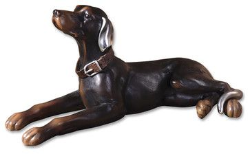 Resting Dog Aged Black Statue - traditional - Pet Care - Fratantoni Lifestyles