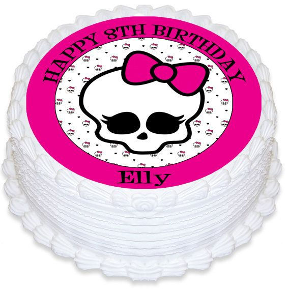 Monster High Skull Personalised Round Edible Cake Topper - PRE-CUT