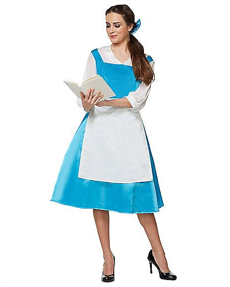 Adult Belle Blue Dress Costume – Beauty and The Beast - Spirithalloween.com