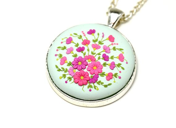 Floral Pendant Necklace Mint Pink Pendant with by KittenUmka
