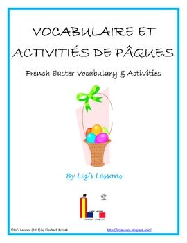French Easter Activities! Vocabulaire et Activites pour Paques!Greeting Card