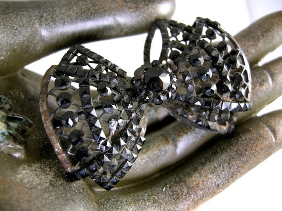 Victorian Mourning Black Jet Rhinestone Bow by worn2perfection, $50.00