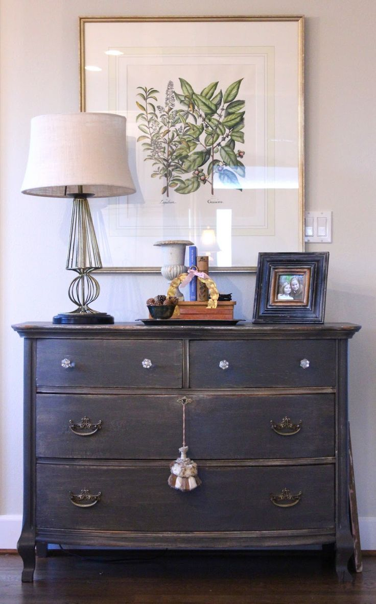 Dresser was painted with SW Urbane Bronze, sanded to distress it. Piece was then finished off with a tung oil rub. Beautiful paint treatment from Forever Cottage