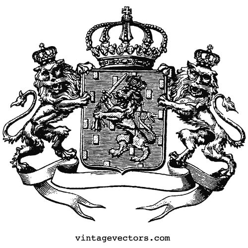 Vintage Vector Art: Crown Atop Shield Emblem with Banner and Crowned Lions Holding Sword — Vintage Vectors
