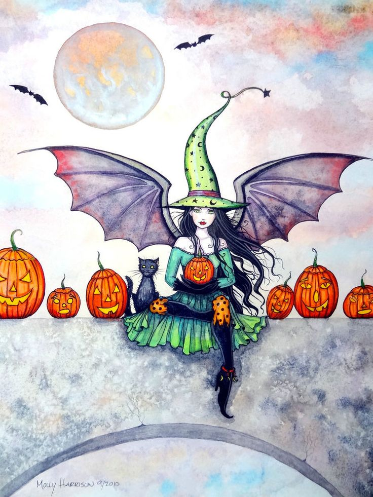 Halloween Witch with Cat and Pumpkins Original Molly Harrison Painting 11 X 15
