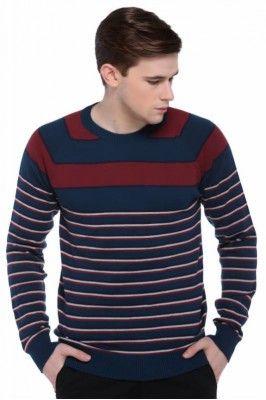 Get ready for this winter season by wearing this cool round neck striped sweater for men #menssweater #mensfashion #winterwearformen #roundnecksweater
