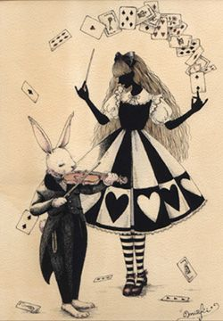 It is a black and white Ace of hearts verses the black night violin music to dance with at the tea party.