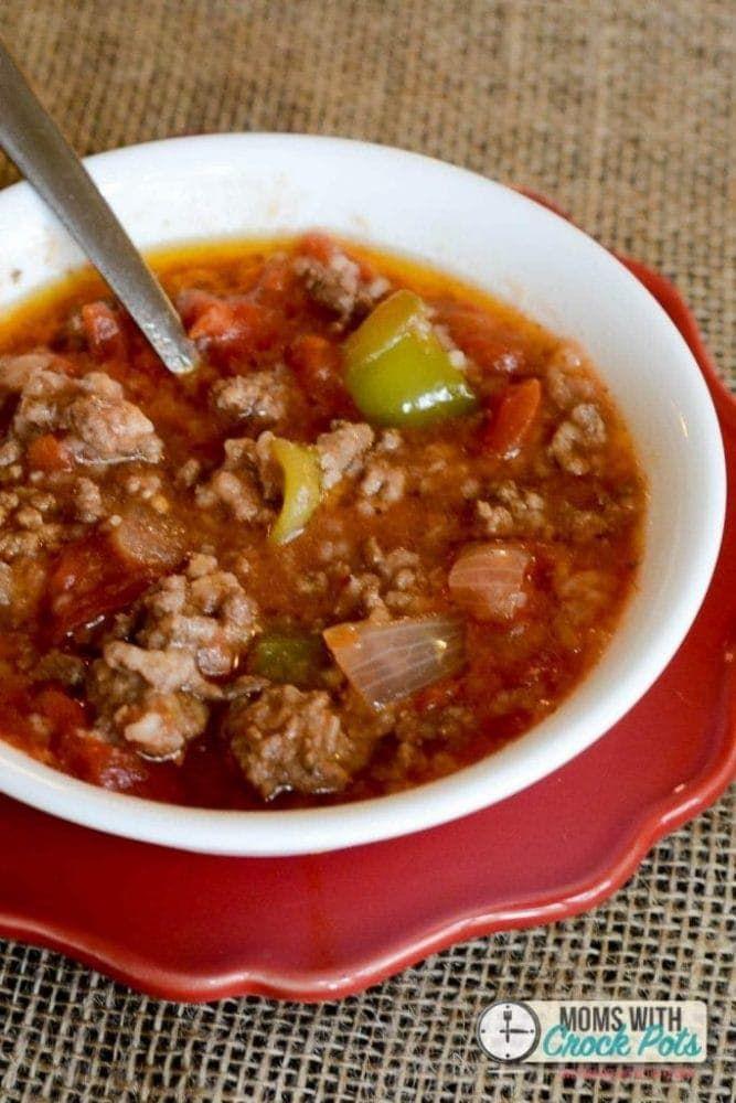 Crockpot Stuffed Pepper Soup Recipe Recipe In 2020 Stuffed Peppers Stuffed Pepper Soup Crockpot Recipes Easy