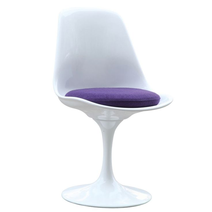 White Flower Side Chair (White Flower Side Chair -Purple Seat Pad), Purple (Aluminum)