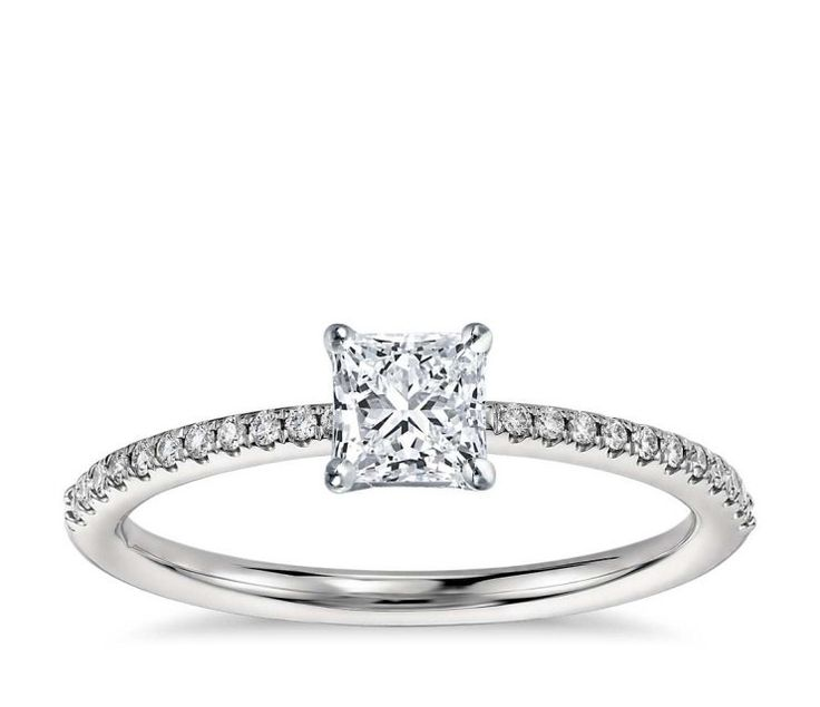 Platinum 0.61ct D VVS2 Princess Cut Micropave Diamond Solitaire Engagement Ring Hand Made with Shoulder Set Diamonds GIA CERTIFIED by WGJewellery on Etsy