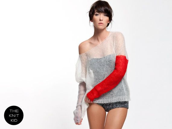 Super kid mohair knit sweater white light grey red от THEKNITKID
