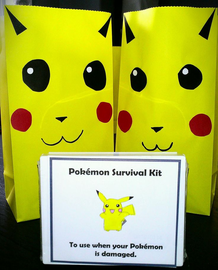 Pikachu gift bags and Pokemon survival kits (first aid kit) for birthday