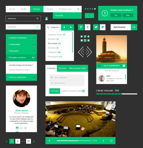 Flat Ui Kit Free - Free PSD Download
