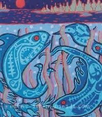 Nokomis painting representing circle of life underwater.