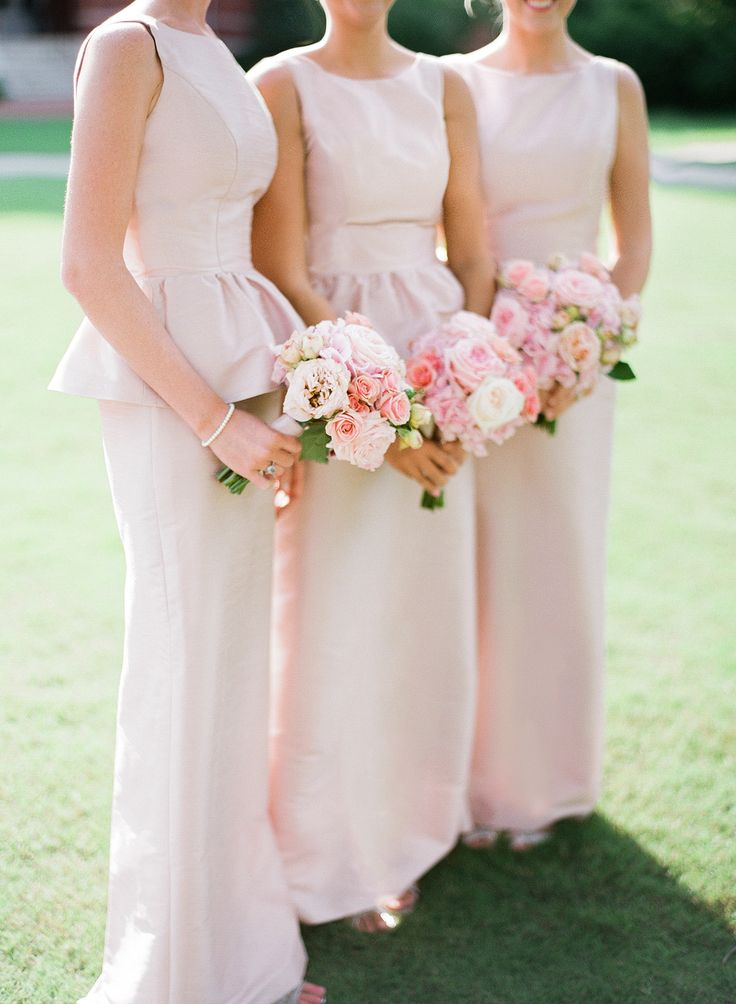 Auburn University wedding, Auburn AL wedding.  Bridesmaids peplum dresses. Pink. Auburn United Methodist Church Wedding.