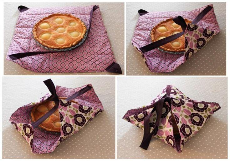 Avec la permission de la gentille Louise de la page facebook: Les Lubies de Louise, je vous partage un super beau tutoriel pour apprendre à fabriquer un sac à tarte! Une belle idée pour transporter la tarte préférée devotre cher gendre! Vous serez