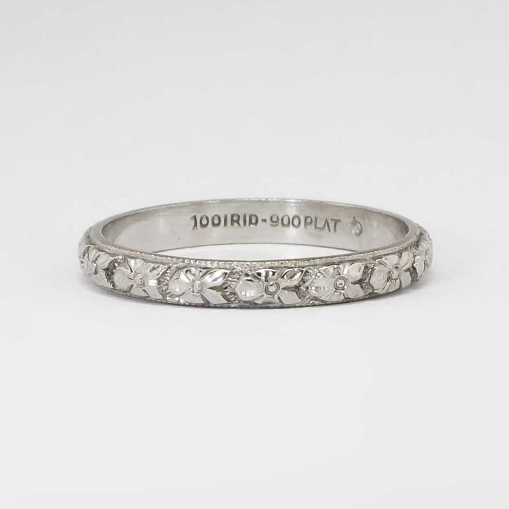 Authentic 1930's Art Deco Floral Eternity Wedding Band Platinum Size 6 | Antique & Estate Jewelry | Jewelry Finds
