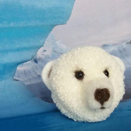 "Brož  \""Lední méďa Vločka\"", Brooch cute pomp pomp animals, wool, light, nature, animal, natural, pet, white, cheerful, gentle, sweet, cute pom pom animals, miniature, polar bear"