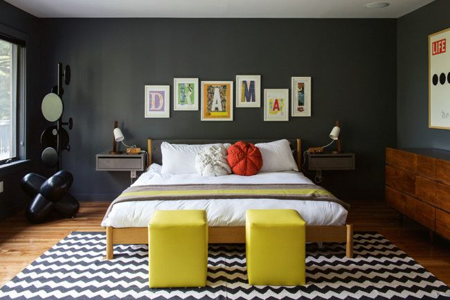 7. Be theatrical – but don't overwhelm. The master bedroom lives up to the attention-grabbing artwork on...