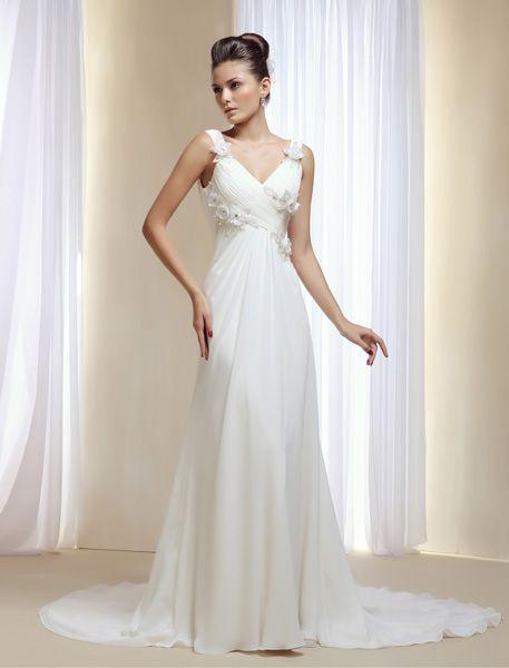 """Vestido de novia estilo griego de #innovias. ¡El escote en """"v"""" queda fantástico!"""