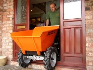 Muck Truck Power Barrow can fit through garden side gates and narrow areas. The 4WD Muck Truck Power Barrow moves building materials over most terrains.  The Muck Truck is used by builders, landscapers and tree surgeons.  http://www.fresh-group.com/muck-truck.html