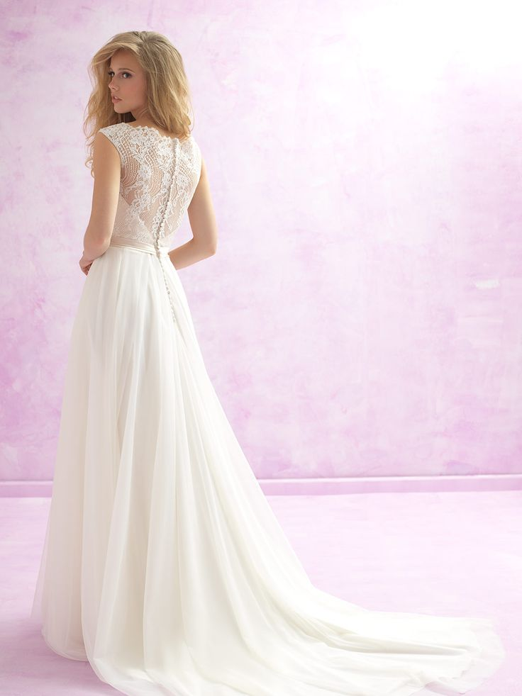 """Demure"" Soft lace A-Line wedding dress just arrived at Jenny's Bridal Colour: Ivory  Size 8"