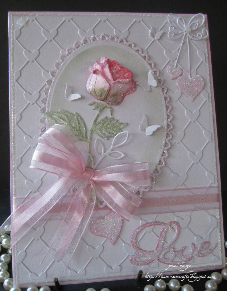 Long stemmed rose card by Pam
