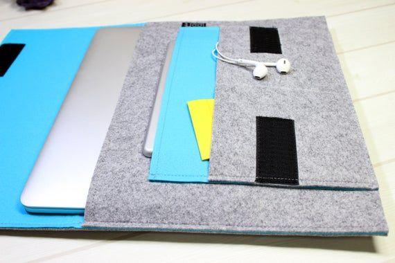 Simple laptop sleeve, 13 inch laptop case, minimal laptop pouch, blue laptop sleeve, felt laptop sle