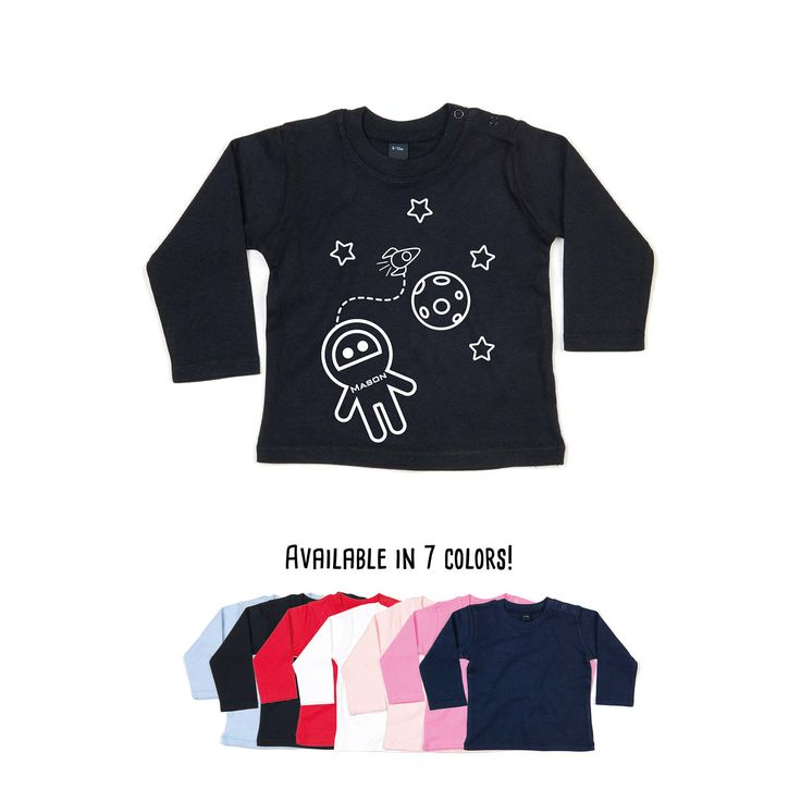 Baby astronaut shirt, longsleeve shirt, personalized shirt, name shirt, space shirt, customizable shirt, rocket shirt, moon tee, space ship by KMLeonBE on Etsy
