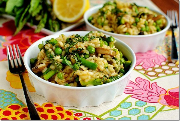 Lighter Spring Risotto with spring peas and asparagus doesn't need extra butter and fat at the end to make it rich and satisfying.