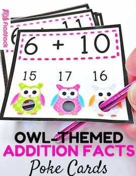 Poke games are a creative, simple, self-checking way for students to practice their addition facts. And the cute owl design will be sure to grab your students' attention. My students love them!Check out how poke cards work in my Poke Cards Video.Included inside this title are 144 cards to help students review addition facts 1-12.This title can also be found in my Owl Poke Math Facts Pack that includes the facts for all four operations at a discount price.
