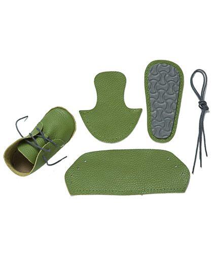 First Baby Shoes doos voor leuke groen lederen slofjesAKI ...