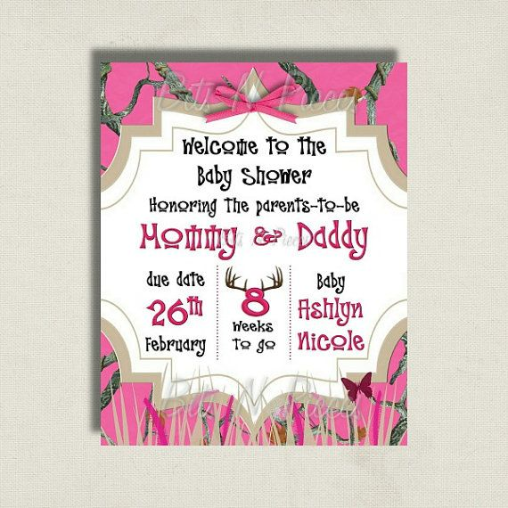 Pink Camo Baby Shower Welcome Sign by BitsnPiecesEvents on Etsy, $12.00