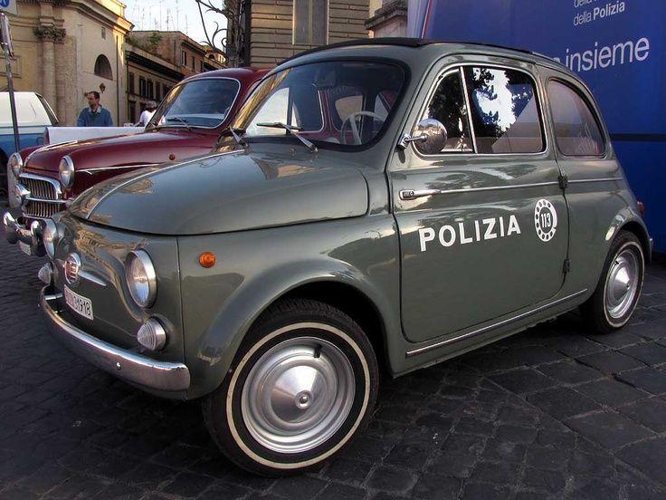 Vintage Fiat 500 police car #polizia #italia #italy #originsitaly
