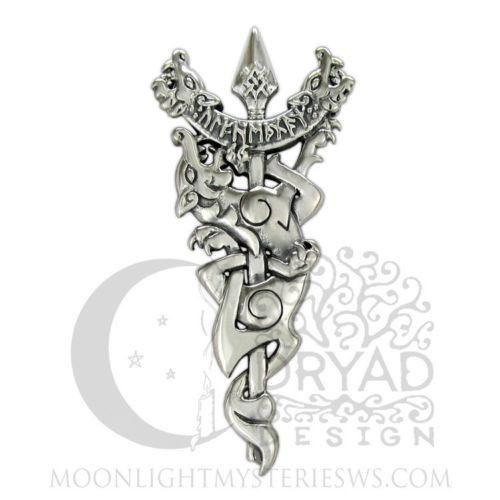 ODIN Warrior NORSE WOLF Pendant .925 Silver BATTLE Pelt SPEAR Rune Dryad Design