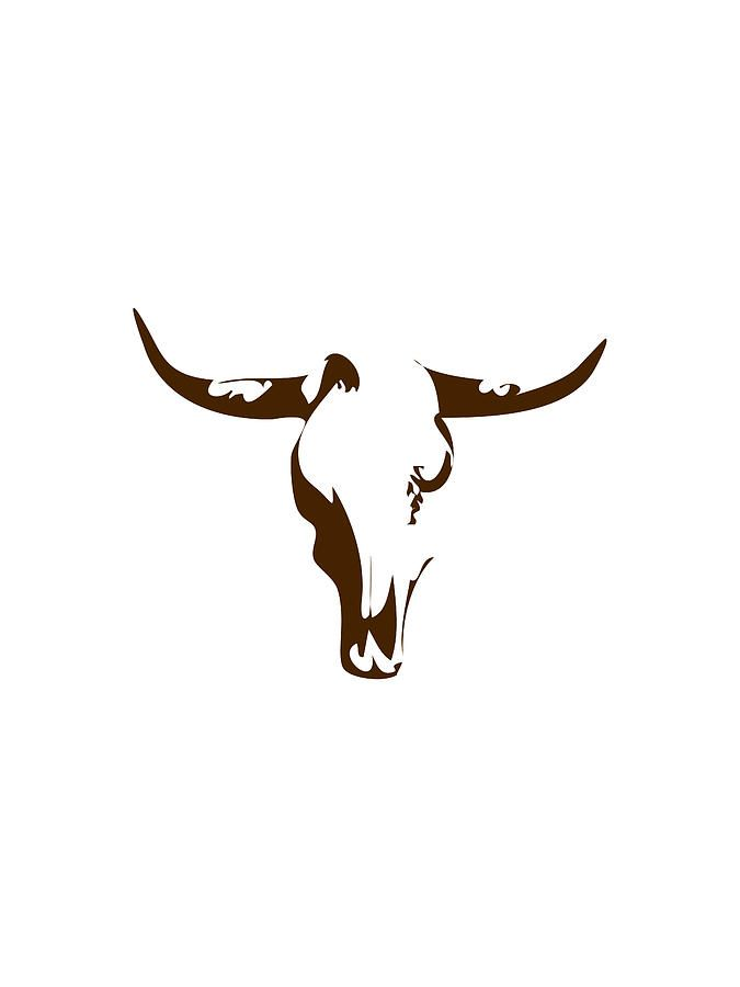 Minimalist Bull Skull Poster Digital Art by Celestial Images
