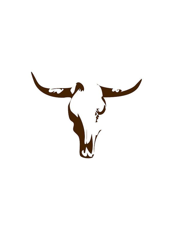 Minimalist Bull Skull Poster Digital Art by Celestial Images