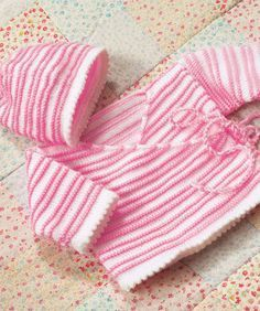 Baby Wrap Jacket And Hat - Free Knitted Pattern - (redheart)