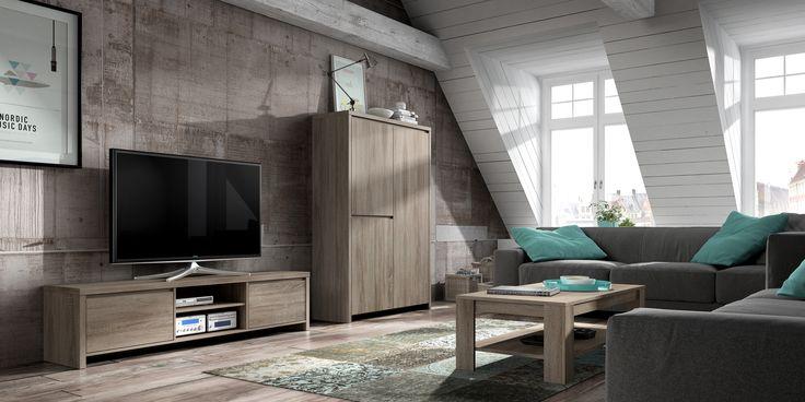 Eigentijdse #woonkamer meubelen bestaande uit een TV-meubel, barkast en salontafel.