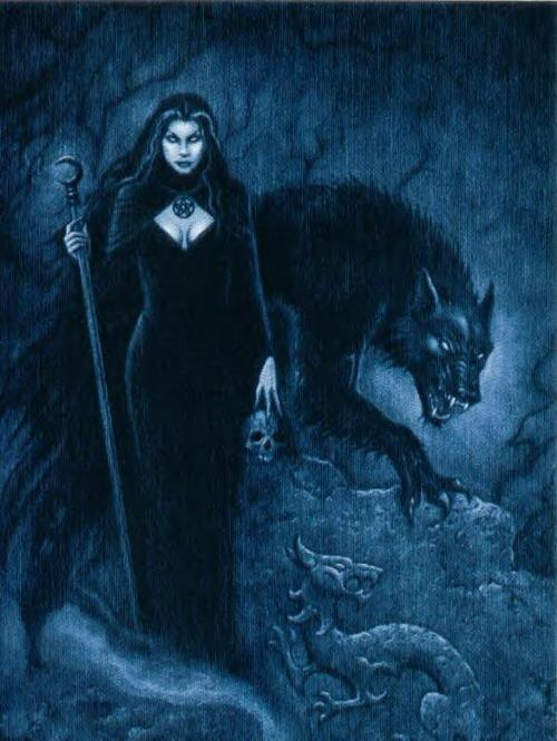 """Joseph Vargo's """"Wolf Witch"""" tarot card(Queen of Wands) from """"The Gothic Tarot""""-:- This is my absolute favorite Tarot deck because of the artwork. It's also the one I use the most. I find it gives me more accurate readings than my other decks."""