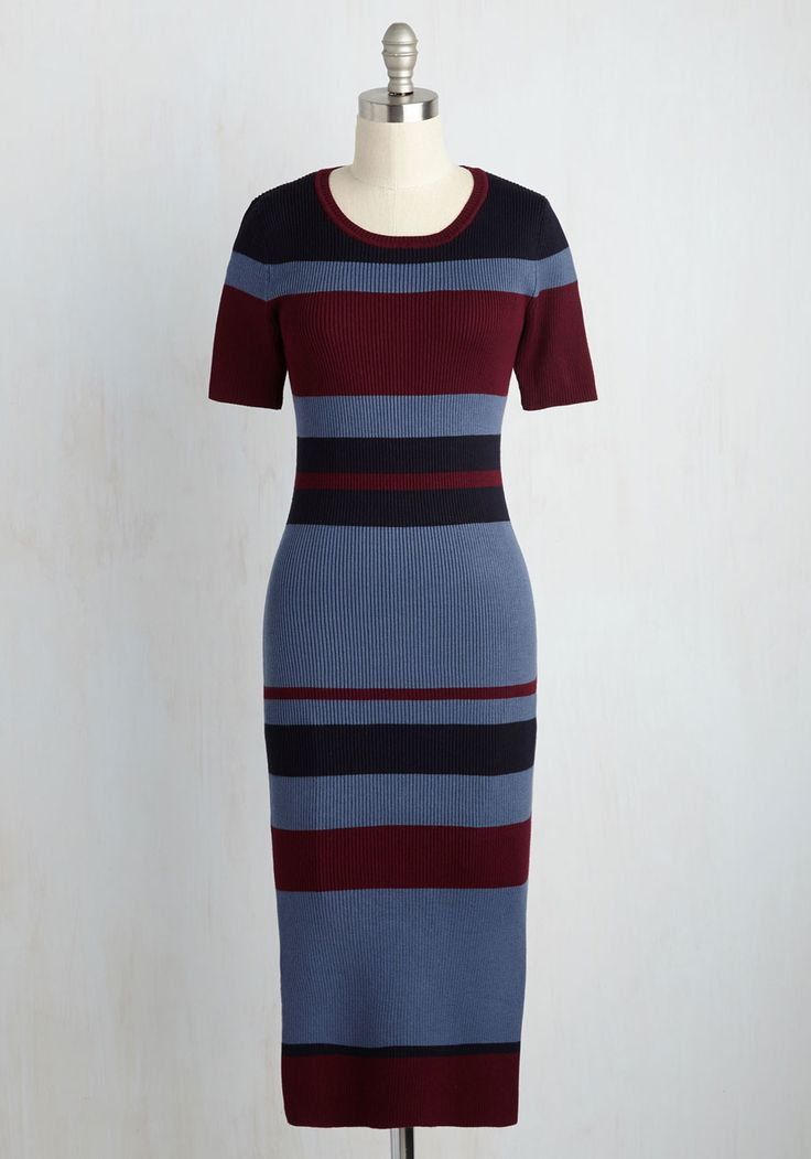 Nostalgia to Omega Dress. This ribbed sweater dress is the be-all end-all of retro ensembles! #multi #modcloth