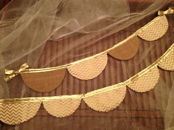 Gold Chevron fabric scallop banner. Gold Chevron fabric and natural  burlap option on Etsy, $32.00