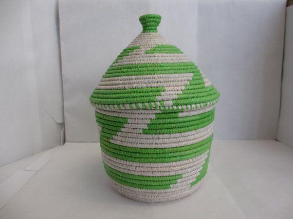 Lime Green and White Basket. African Basket, Basket with Lid, Unique Basket, Woven Basket, Decorative Basket, Traditional Basket, Fair Trade