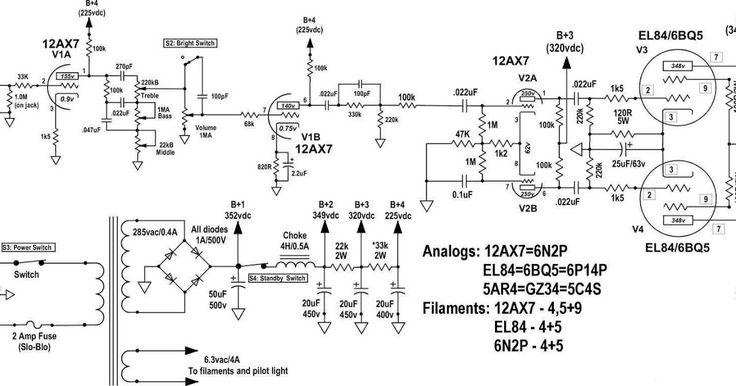 tube 12AX7 (6N2P) + EL84 (6BQ5, 6P14P) 14Watt hifi Amplifiers