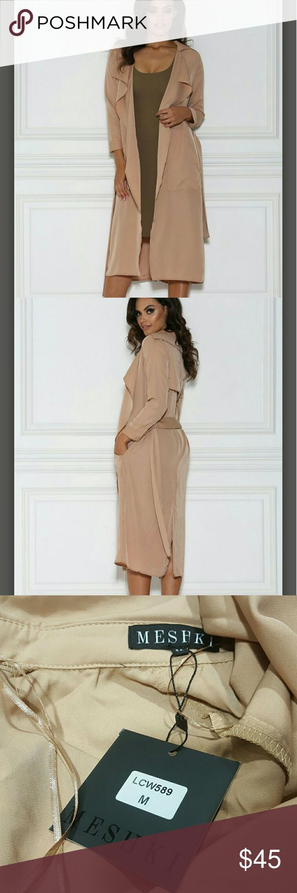 🛍 Meshki duster trench light coat camel DULCE DUSTER TRENCH COAT -Camel SIZE M  PRODUCT DESCRIPTION - This flowy and lightweight coat can be a luxe addition to any closet. Pair with a bodycon dress, like our Sia Dress, or wear over your outfit for the night out. Either way, this coat can make any outfit instantly classy.   Camel Monika is 5'9/175.5cm and wears a XS 65% cotton, 35% polyester Length: 121cm, based on XS Meshki Jackets & Coats