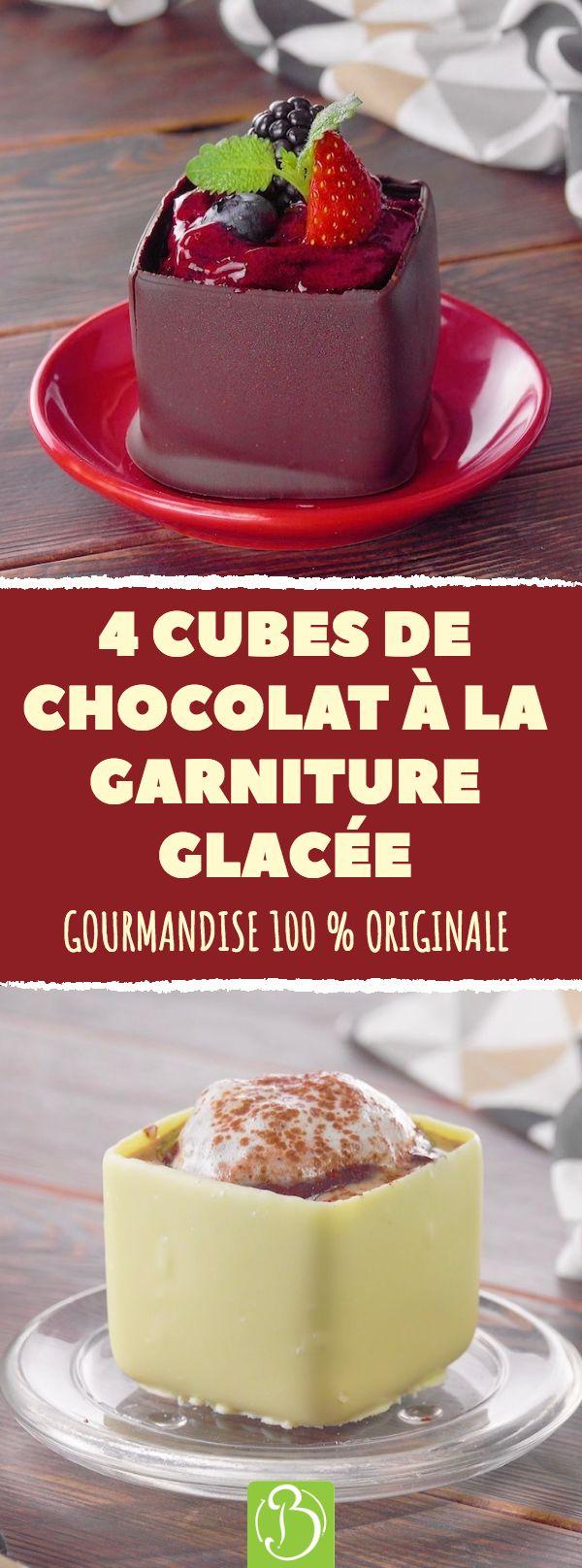 4 cubos de chocolate com recheio gelado. Gourmandise 100% original! #do…