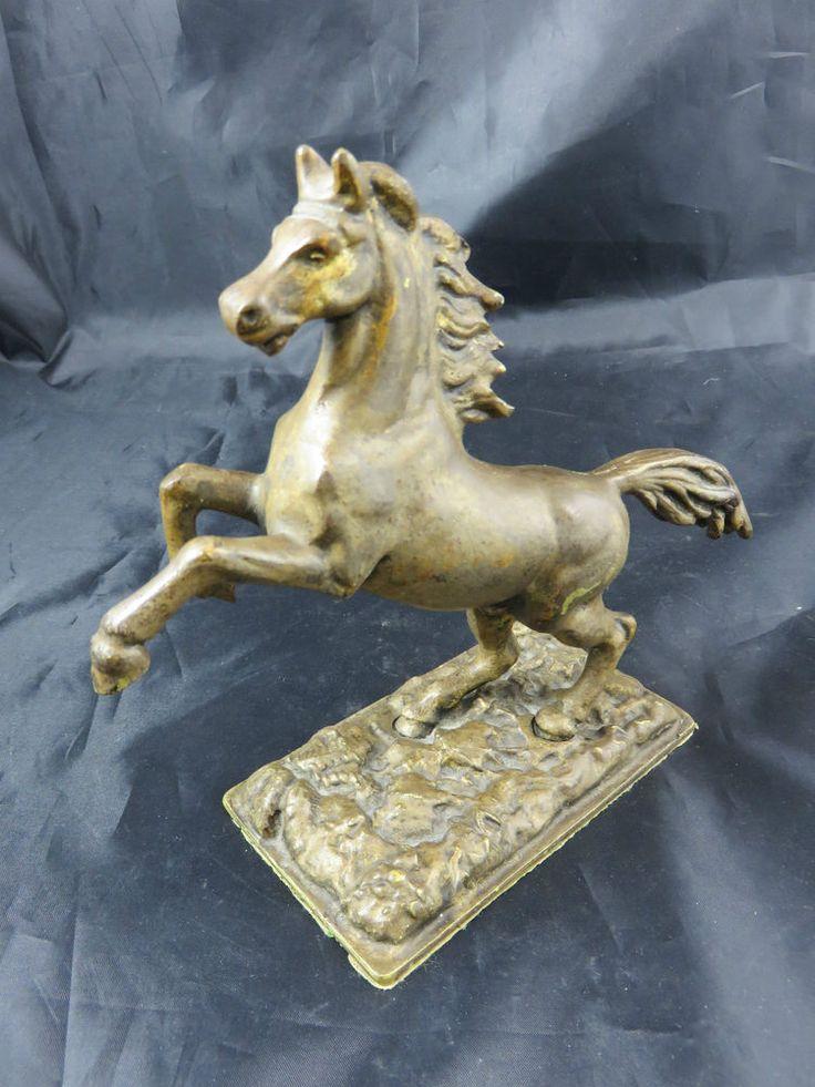 Schöner Alter Messing Figur Pferd Steigendes Brass figure horse rising