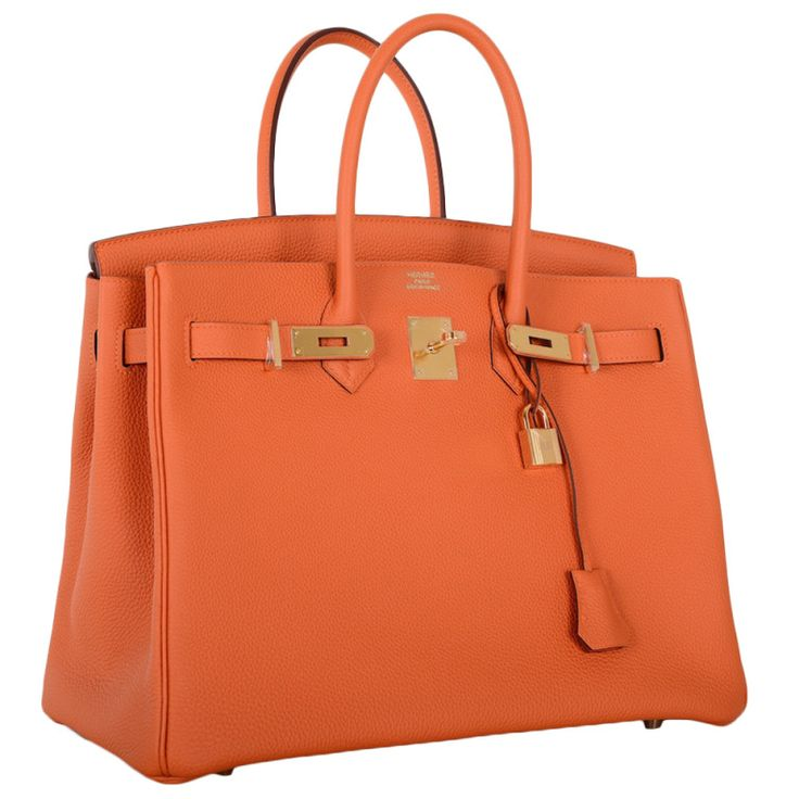 Hermes Birkin Bag 35CM HOT ORANGE From a collection of rare vintage handbags and purses at http://www.1stdibs.com/fashion/accessories/handbags-purses/